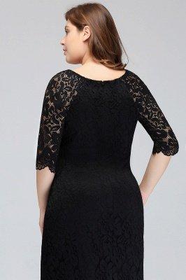 JANESSA | Mermaid Bateau Tea Length Plus size Lace Black Evening Dresses with sleeves_9