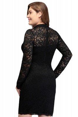 JANE   Mermaid Crew Short Plus size Long Sleeves Lace Black Cocktail Dresses_3
