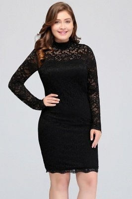JANE   Mermaid Crew Short Plus size Long Sleeves Lace Black Cocktail Dresses_4