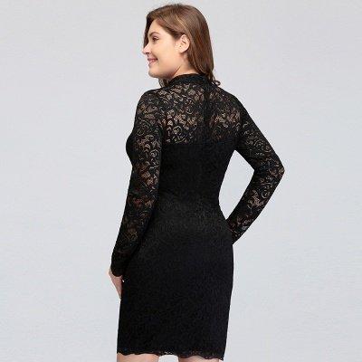 JANE   Mermaid Crew Short Plus size Long Sleeves Lace Black Cocktail Dresses_12