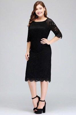 JANESSA | Mermaid Bateau Tea Length Plus size Lace Black Evening Dresses with sleeves_4