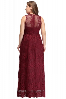 JADE | A-Line V-neck Floor Length Sleeveless Plus size Lace Burgundy Evening Dresses_3