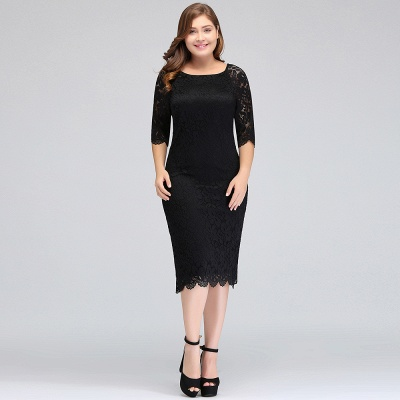 JANESSA | Mermaid Bateau Tea Length Plus size Lace Black Evening Dresses with sleeves_8