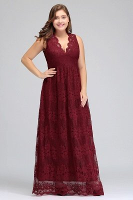 JADE | A-Line V-neck Floor Length Sleeveless Plus size Lace Burgundy Evening Dresses_8