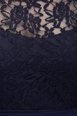 IVANNA | A-Line Scoop Plus size Half Sleeves Long Navy Blue Evening Dresses with Lace_10