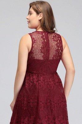 JADE   A-Line V-neck Floor Length Sleeveless Plus size Lace Burgundy Evening Dresses_10