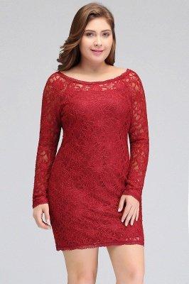 JANELLE | Sheath Scoop Short Long Sleeves Plus size Lace Burgundy Cocktail Dresses_4