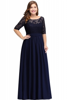 IVANNA | A-Line Scoop Plus size Half Sleeves Long Navy Blue Evening Dresses with Lace_1