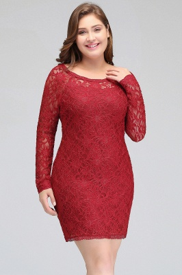 JANELLE | Sheath Scoop Short Long Sleeves Plus size Lace Burgundy Cocktail Dresses_6