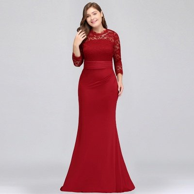 JACQUELINE | Mermaid Crew Floor Length Plus size Lace Formal Dresses with Sash_10