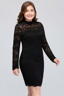 JANE   Mermaid Crew Short Plus size Long Sleeves Lace Black Cocktail Dresses_7