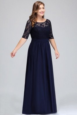 IVANNA | A-Line Scoop Plus size Half Sleeves Long Navy Blue Evening Dresses with Lace_5