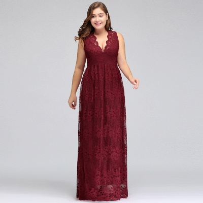 JADE   A-Line V-neck Floor Length Sleeveless Plus size Lace Burgundy Evening Dresses_9