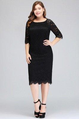 JANESSA | Mermaid Bateau Tea Length Plus size Lace Black Evening Dresses with sleeves_5
