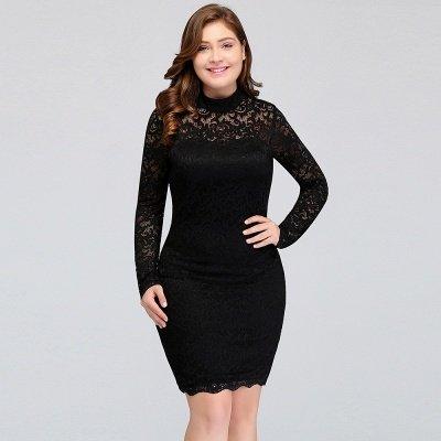 JANE   Mermaid Crew Short Plus size Long Sleeves Lace Black Cocktail Dresses_11