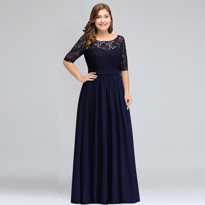 IVANNA | A-Line Scoop Plus size Half Sleeves Long Navy Blue Evening Dresses with Lace_9