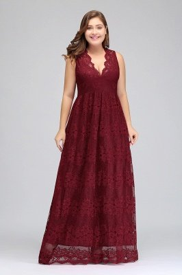JADE | A-Line V-neck Floor Length Sleeveless Plus size Lace Burgundy Evening Dresses_4