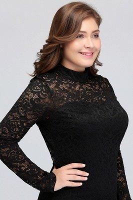 JANE   Mermaid Crew Short Plus size Long Sleeves Lace Black Cocktail Dresses_8