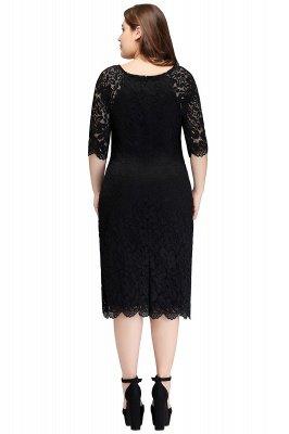 JANESSA | Mermaid Bateau Tea Length Plus size Lace Black Evening Dresses with sleeves_3