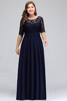 IVANNA | A-Line Scoop Plus size Half Sleeves Long Navy Blue Evening Dresses with Lace_6