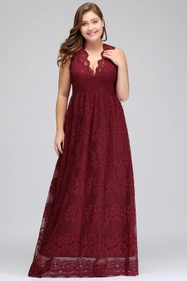 JADE | A-Line V-neck Floor Length Sleeveless Plus size Lace Burgundy Evening Dresses_6