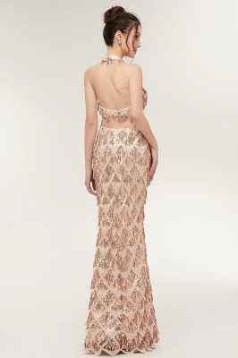 ZENOBIA | Mermaid Two-piece Halter Long Sequined Patterns Champagne Prom Dresses_3