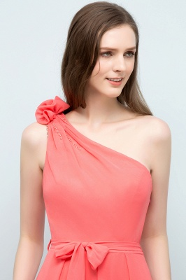 VALERIA | A-line One Shoulder Floor Length Chiffon Prom Dresses with Bow Sash_7