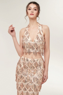 ZENOBIA | Mermaid Two-piece Halter Long Sequined Patterns Champagne Prom Dresses_6