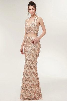 ZENOBIA | Mermaid Two-piece Halter Long Sequined Patterns Champagne Prom Dresses_5