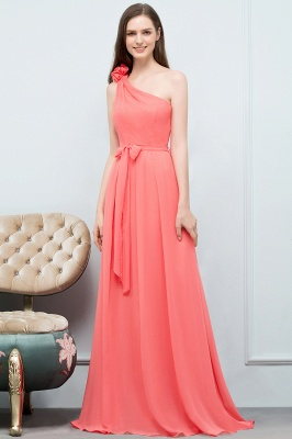VALERIA | A-line One Shoulder Floor Length Chiffon Prom Dresses with Bow Sash_9