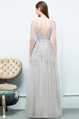 JORDYNN   A-line Half-sleeve V-neck Floor Length Appliqued Tulle Prom Dresses with Sash_10
