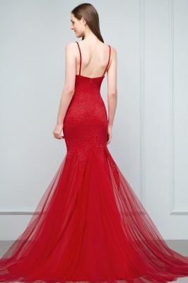 VANESSA | Mermaid Floor Length Illusion Neckline Sleeveless Tulle Lace Prom Dresses_4
