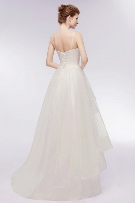 YVONNE | A-line Hi-lo Spaghetti Sweetheart Tulle Ivory Wedding Dresses with Ruffles_12