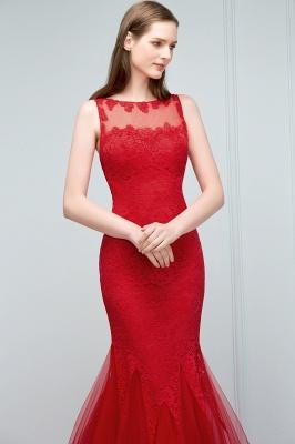 VANESSA | Mermaid Floor Length Illusion Neckline Sleeveless Tulle Lace Prom Dresses_8