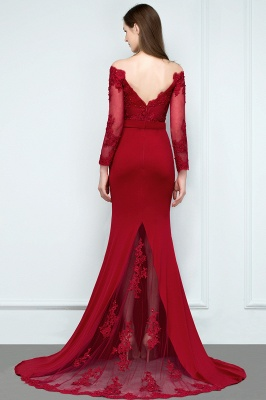 JOYCE | Mermaid Floor Length V-neck Off-shoulder Long Sleeves Appliqued Prom Dresses_3