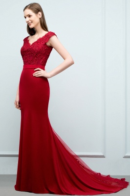 JOURNEY | Mermaid Floor Length V-neck Appliques Beads Prom Dresses with Sash_1