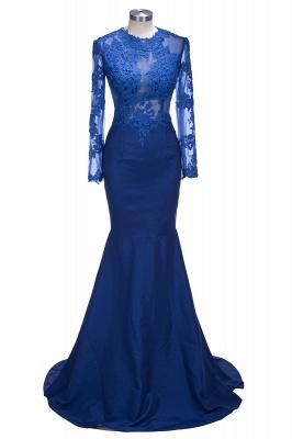 Long-Sleeves Royal-Blue Sheer Long Mermaid Lace Prom Dresses_1