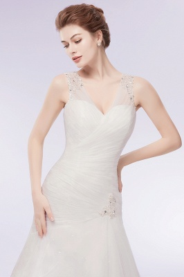 WENDY   Mermaid V-neck Floor Length Tulle Wedding Dresses with Crystals