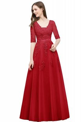 JORDYNN | A-line Half-sleeve V-neck Floor Length Appliqued Tulle Prom Dresses with Sash_5