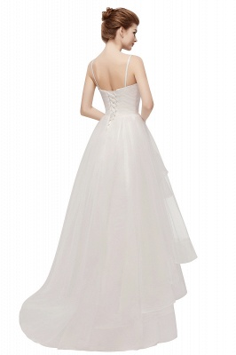 YVONNE | A-line Hi-lo Spaghetti Sweetheart Tulle Ivory Wedding Dresses with Ruffles_3