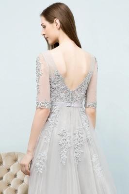 JORDYNN | A-line Half-sleeve V-neck Floor Length Appliqued Tulle Prom Dresses with Sash_20