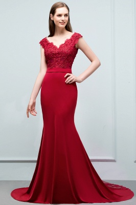 JOURNEY | Mermaid Floor Length V-neck Appliques Beads Prom Dresses with Sash_5