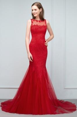 VANESSA | Mermaid Floor Length Illusion Neckline Sleeveless Tulle Lace Prom Dresses_9