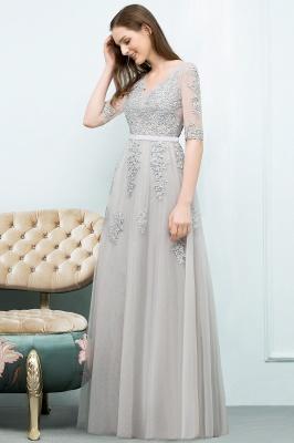 JORDYNN | A-line Half-sleeve V-neck Floor Length Appliqued Tulle Prom Dresses with Sash_16