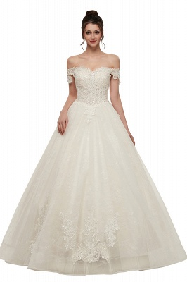 ZOLA | A-line Off-shoulder Sweetheart Floor Length Lace Appliques Wedding Dresses with Lace-up