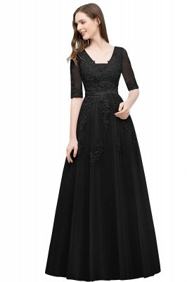 JORDYNN   A-line Half-sleeve V-neck Floor Length Appliqued Tulle Prom Dresses with Sash_7