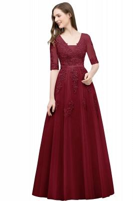 JORDYNN | A-line Half-sleeve V-neck Floor Length Appliqued Tulle Prom Dresses with Sash_6