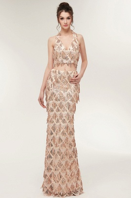 ZENOBIA | Mermaid Two-piece Halter Long Sequined Patterns Champagne Prom Dresses_4