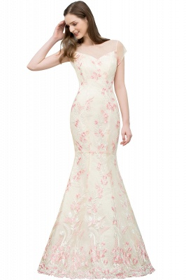 WINIFRED | Mermaid Short Sleeves Illusion Neckline Floor Length Lace Appliques Prom Dresses_1