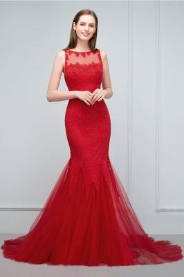 VANESSA | Mermaid Floor Length Illusion Neckline Sleeveless Tulle Lace Prom Dresses_10